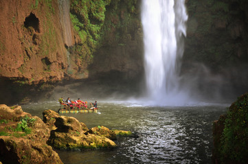 Boat under Ouzoud waterfall, Morocco