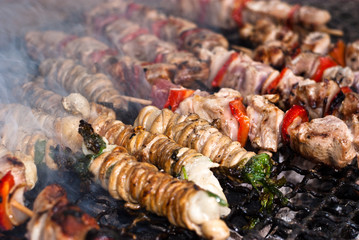Stigghiole. Street food in Palermo