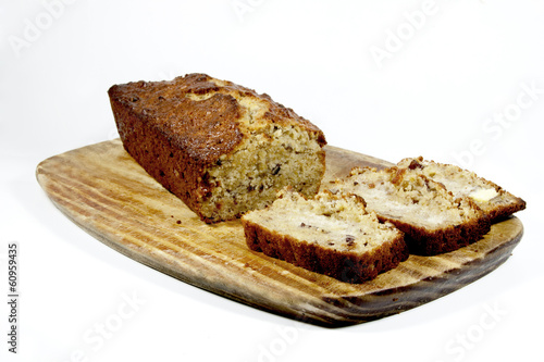 Freshly Baked Homemade Banana Bread On Cutting Board