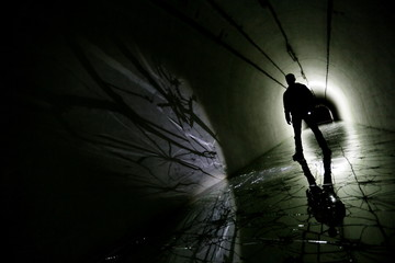 Silhouette in a underground