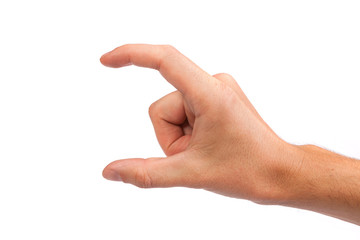 Male hand reaching for something on white