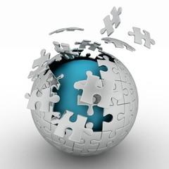 spherical jigsaw. 3d rendering on white