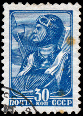 RUSSIA - circa 1938: stamp printed by Russia, shows Soviet aviat