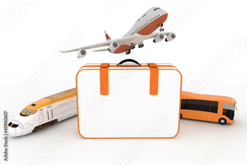 traffic resources with suitcase. 3d  render illustration