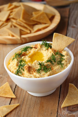 Homemade hummus with healthy chips