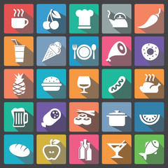 Food icon set flat