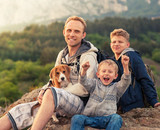 Happy family outdoor portrait