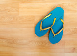 Beach shoes, flip flops - turquoise and glitter, holiday