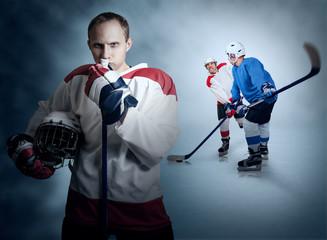 Ice hockey game moment