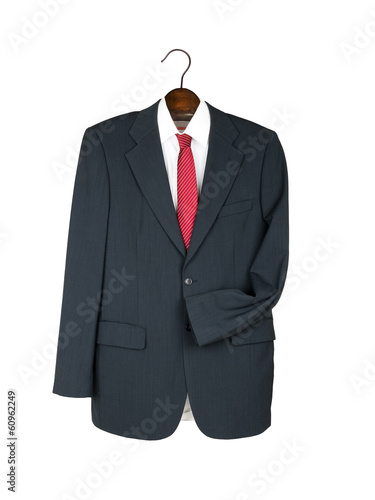 Business jacket, shirt and tie on wooden hanger - empty