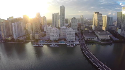 Aerial video of Brickell Miami at sunset