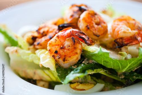 Fotobehang Schaaldieren Shrimp salad