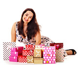 Woman holding gift box at birthday party.