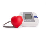 red heart in front of blood pressure meter