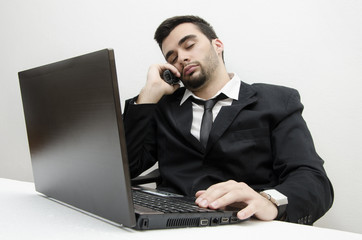 Young Businessman exhausted from work