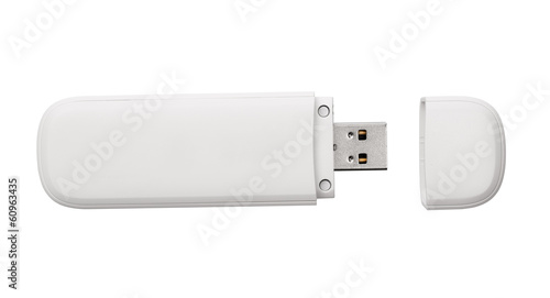 White usb flash drive isolated on the white background - 60963435
