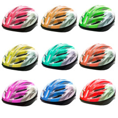 varities color of bicycle safety helmet isolated on white backgr