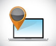laptop and locator pointer illustration design