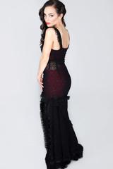 beautiful elegant woman in a black dress