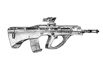 Pencil sketch machine gun.