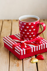 Tea cup and chocolate for Valentine's day holiday celebration