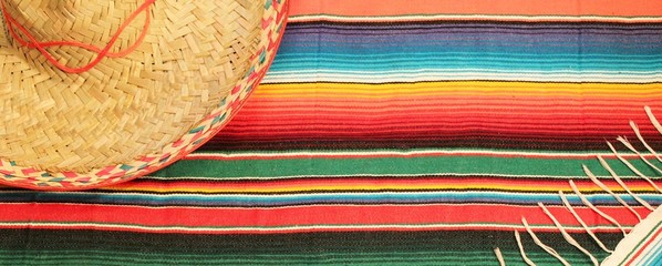 Mexican fiesta poncho rug  in bright colors with sombrero