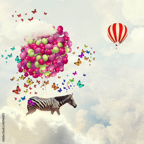 Deurstickers Zebra Flying zebra