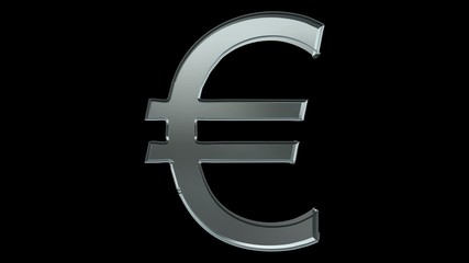 euro sign flying with rotation. alpha channel