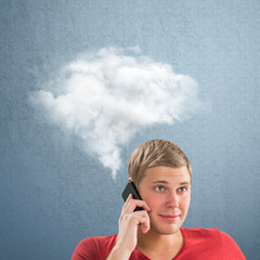 Man and a cloud of thoughts on a blue background