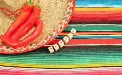Traditional Mexican fiesta poncho rug sombrero