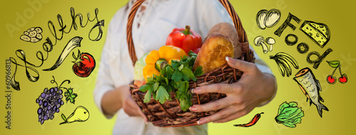 Unrecognizable woman holding basket full of natural organic food
