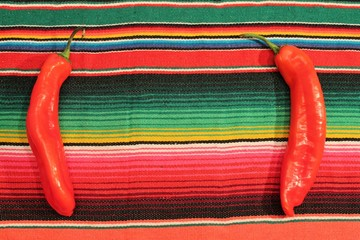 Mexican fiesta poncho rug with red chilli pepper