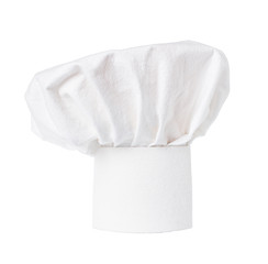 White cooks cap, chef hat isolated on white background.