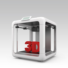 Personal 3D printer with red solid text on gradient background