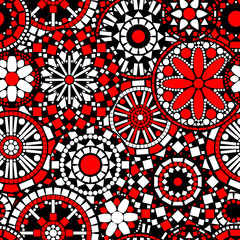 Circle flower mandalas seamless pattern in black white red