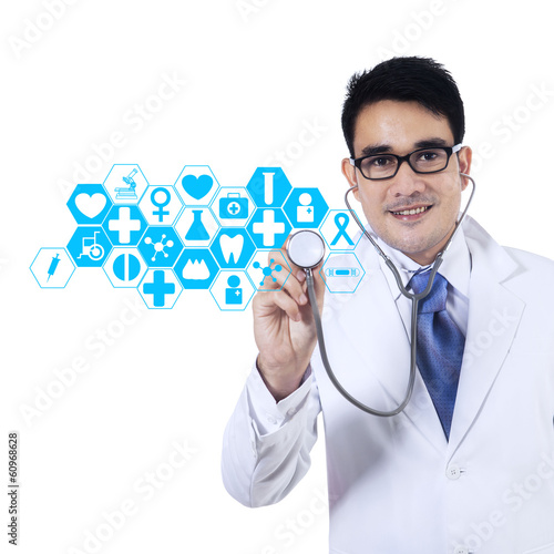 Doctor With Stethoscope And Virtual Screen