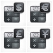 Calculator icons with money symbol on white, vector illustration