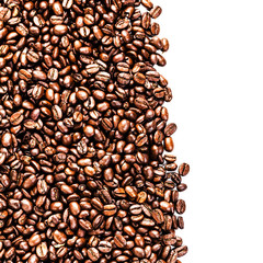 Roasted Coffee Beans background texture isolated on white backgr
