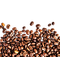 Brown roasted coffee beans isolated on white background.  Arabic