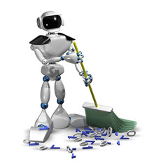 robot with a broom