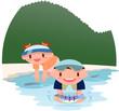 キャンプ川遊び