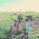 Two bicycles with retro filter effect