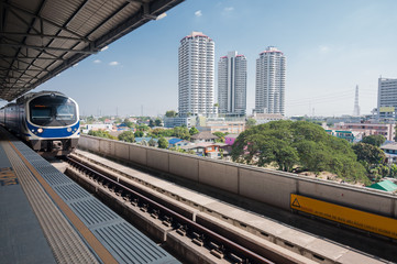 Sky train station in Bangkok and city view