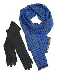 Dark blue scarf and black woolen gloves