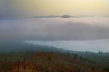 Panoramic view of the lake in fog, Russia