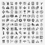 doodle map GPS Location icons set