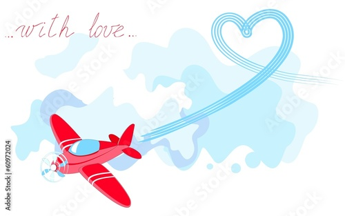 Valentine's card with airplane