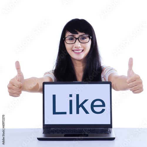 Young student with like button
