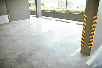 Empty car park under the building