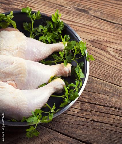 chicken legs in a fry pan